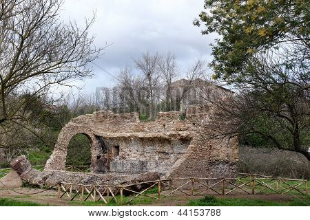 Anciant Ruins In Appia Antica In Rome, Italy