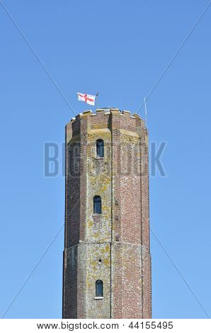 Tall English Castle Tower with george cross poster