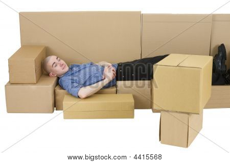 Man With Carton Tvset And Sofa