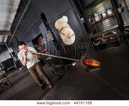Man Creating Glass Art