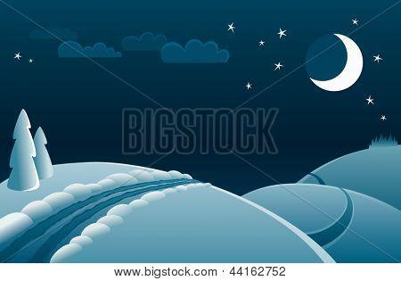 vector winter night landscape