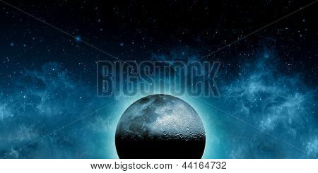 Supernatural Concept - Moon in front of galaxies