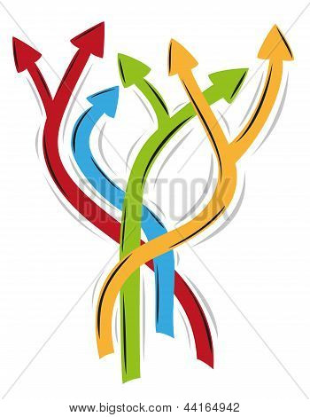 tangle of arrows as symbol of many different ways poster