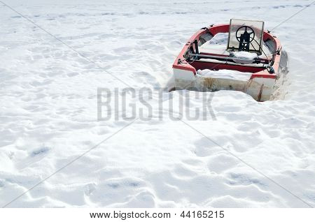 Boat In The Winter On Shore