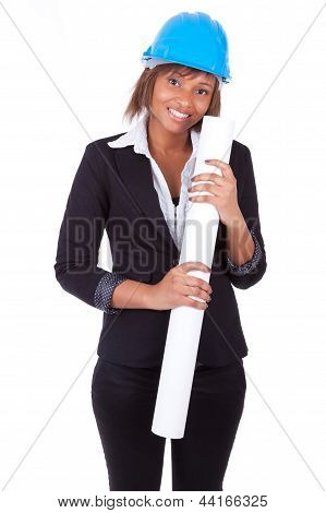 Confident Black African American Woman Architect Smiling With Folded Arms