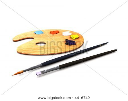 Artist Palette And Brushes