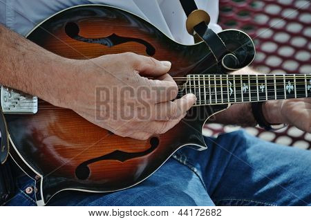 A musician playing a mandolin.