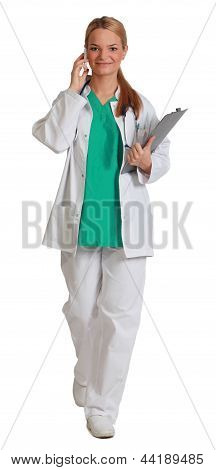 Young Female Doctor On The Phone