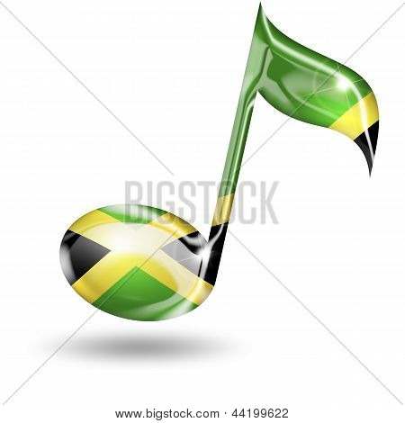 musical note with jamaican flag colors