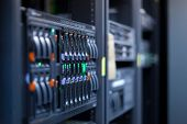 Network servers in a data center. Swallow depth of Field poster