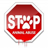 Illustration stop the abuse of animals as a sign of animal protection. poster