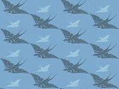 flying swallows seamless background - cute birds in shades of grey and blue poster