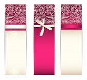 Set from bright pink banners with silk ribbon and lace isolated on white poster