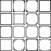 Set of decorative simple frames on white background poster