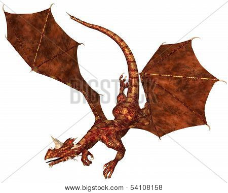 Red Scaled Dragon Swooping to Attack