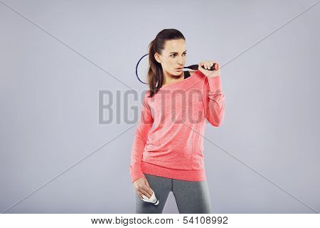 Pretty Fit Woman Holding Badminton Racket