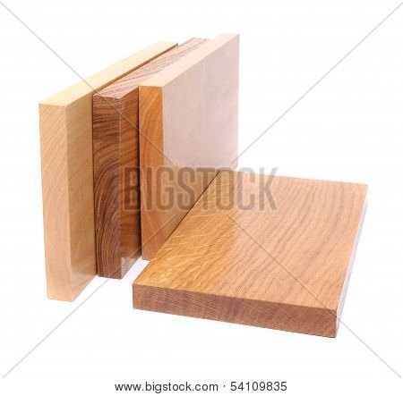 Four wooden plank close-up