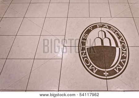 Monte dei Paschi di Siena bank logo on floor