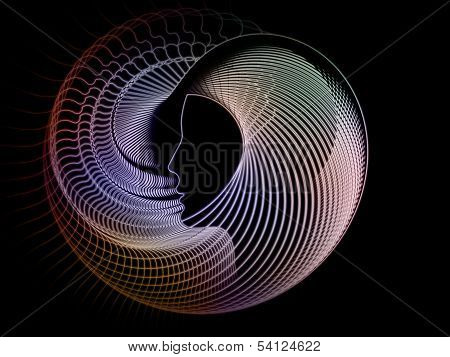 Geometry of Soul series. Visually pleasing composition of profile lines of human head to serve as background in works on education science technology and graphic design poster