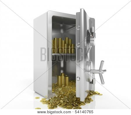 Safe with golden coins isolated on white