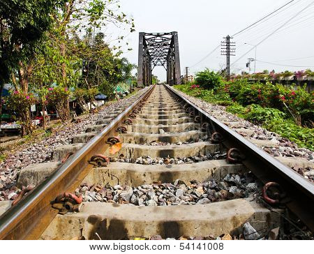 Railway bridge at Bangkoknoi Talingchan Thailand. It is near Talingchan floating market. poster
