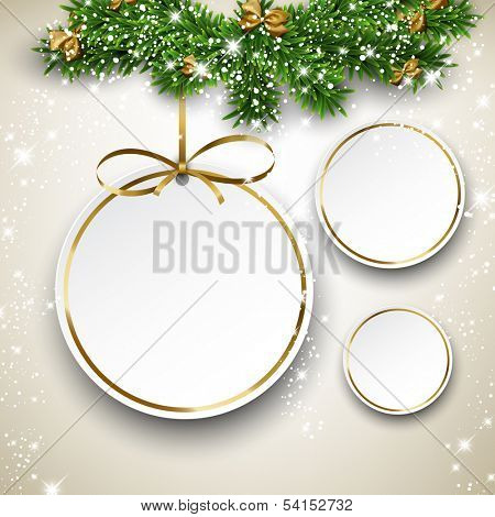 Paper christmas balls with golden ribbon. Round labels over starry background with fir branches. Vector illustration.
