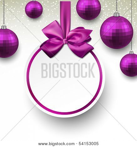 Holiday purple paper round labels. Christmas balls. Vector illustration.