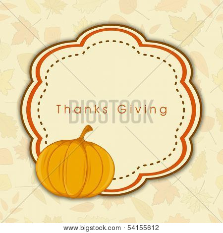Happy Thanksgiving Day concept with pumpkin on abstract background, can be use as flyer, banner or poster.