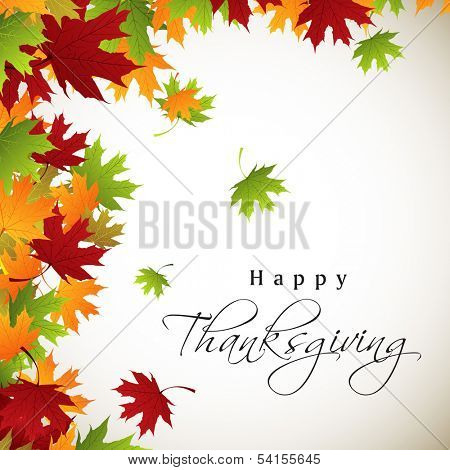 Happy Thanksgiving Day celebration concept with colorful maple leaves on grey background, can be use as flyer, banner or poster.