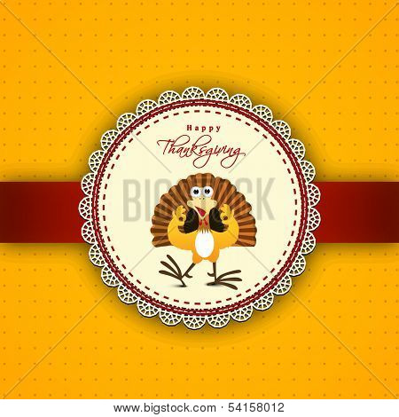 Happy Thanksgiving Day greeting card or invitation card with happy turkey bird on yellow and red background.