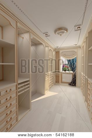 luxury dressing room interior (3D rendering)