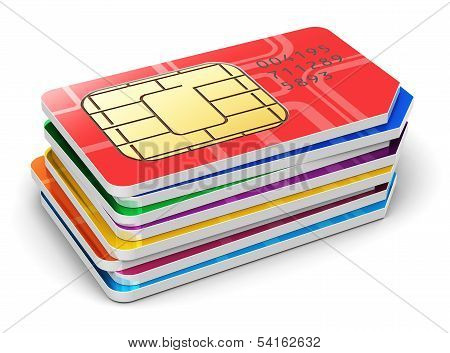 Stack of SIM cards