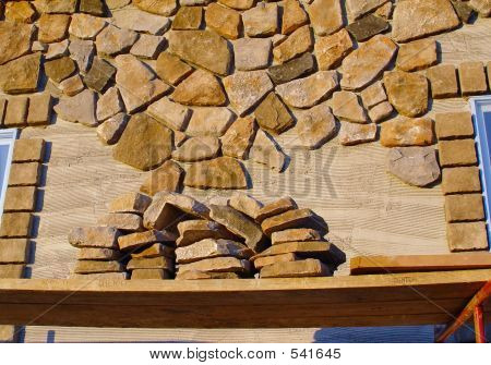 Veneer Stone Wall under Construction