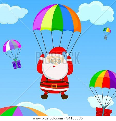 Santa With A Parachute