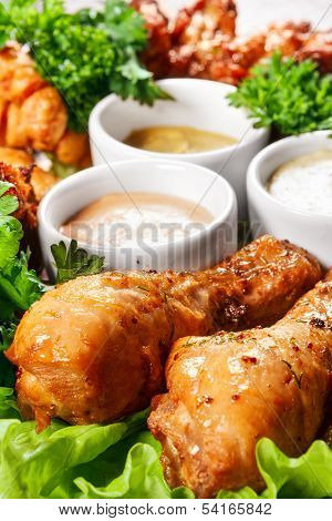Chicken Legs With Sauces And Spices