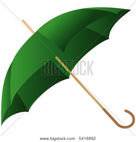 The Green Umbrella Represented On A White Background