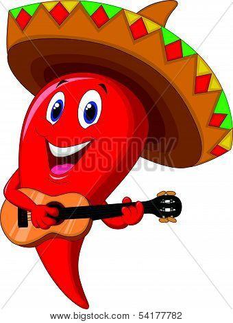 Chili pepper mariachi cartoon wearing sombrero playing a guitar