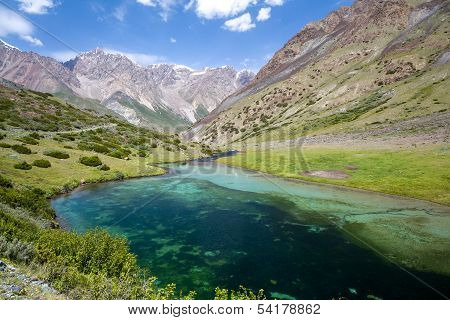 Beautiful lake in Tien Shan mountains