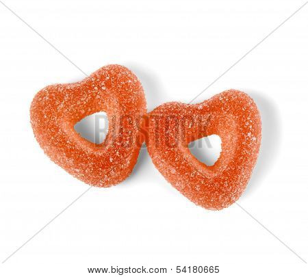 Two Colorful Jelly Candies In Heart Shape