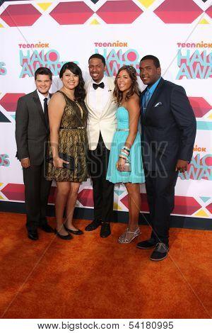 LOS ANGELES - NOV 17:  Zachary Kerr, Rocio Ortega, Nick Cannon, Miranda Fuentes, Denzel Thompson at the TeenNick Halo Awards at Hollywood Palladium on November 17, 2013 in Los Angeles, CA