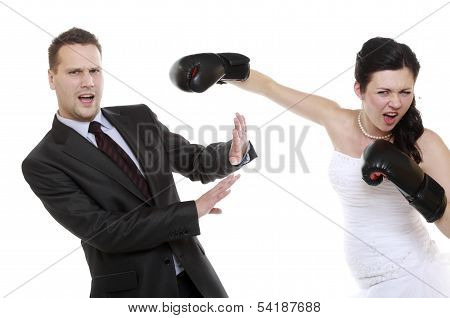 Couple Expressive Fighting. Angry Wife Boxing Husband.