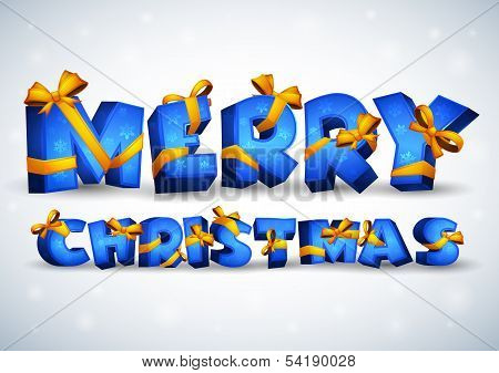 Blue inscription Merry Christmas