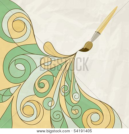 vector concept cartoon brush painting abstract background on crumpled paper texture eps 10 mesh poster