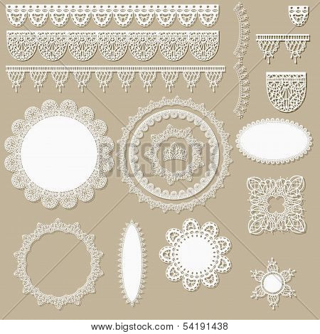 vector lacy scrapbook design elements can be used as napkins borders ribbons and other decorations poster