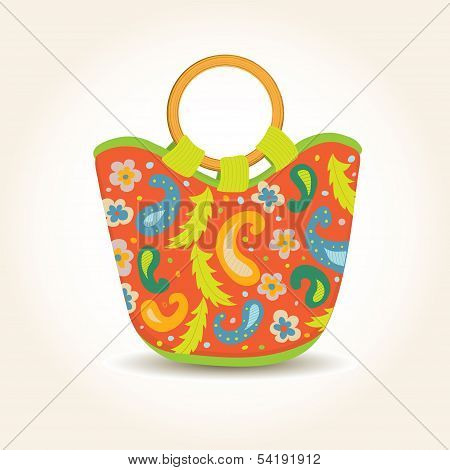 Vector illustration of Summer Woman Bag