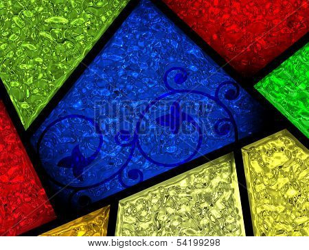 Stained Glass Patterned Window Sections Detail
