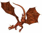 Horned dragon with red metallic scales swooping to attack, 3d digitally rendered illustration poster