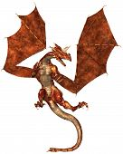 Horned dragon with red metallic scales, 3d digitally rendered illustration poster