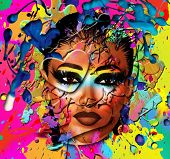 Close up face of a beautiful girl on an abstract background of splattered paint. A heart shape over one eye enhances her fashion makeup and adds fun to this textured art scene. poster