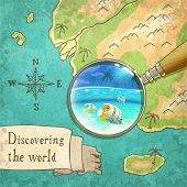 magnifier showing beautiful nature on the old map vector illustration eps10 poster